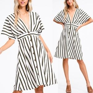 Olive Stripe Button Down Plunging VNeck Midi Dress